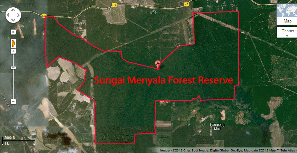 Sungai Menyala Forest Reserve map