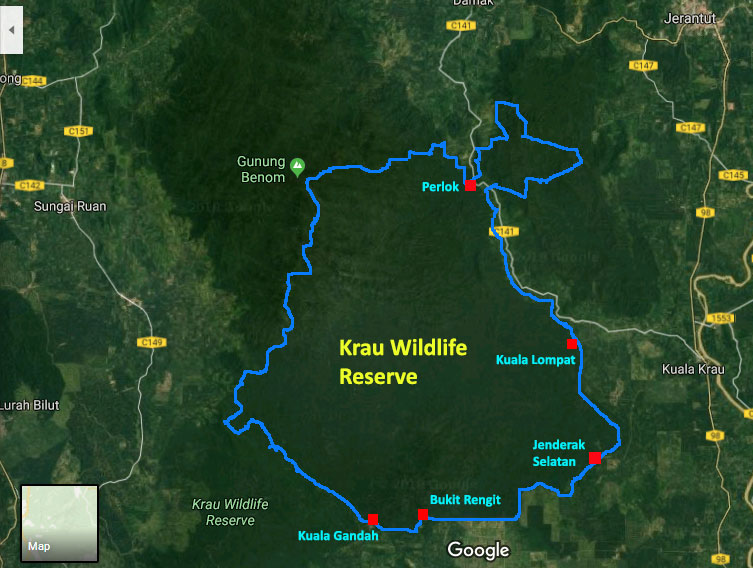 map of krau wildlife reserve